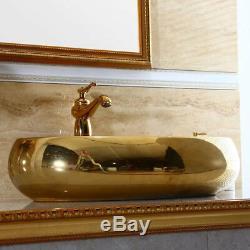 Gold Ceramic Bathroom Vessel Sink Oval Basin Bowl Mixer Faucet Tap+Pop-Up Drain