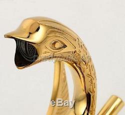 Gold Color Brass Swan Shape Bathroom Sink Faucet Lavatory Tub Mixer Tap Pgf009