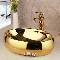 Gold Oval Bathroom Vessel Sink Ceramic Basin Bowl Mixer Faucet Tap Set+Pop Drain
