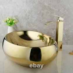 Gold Oval Ceramic Bathroom Wash Basin Vessel Sink Mixer Faucet Tap Pop Drain Set