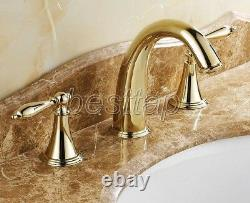 Gold Polished Brass Widespread 3 Holes Bathroom Sink Faucet Mixer Tap snf237