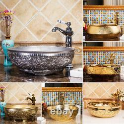 Gold/Silver Ceramic Bathroom Basin Vessel Sink Mixer Faucet Tap Pop-up Drain Set