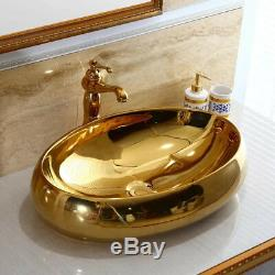 Golden Ceramic Oval Basin Bowl Bathroom Vessel Sinks Mixer Faucet +Pop Drain Kit