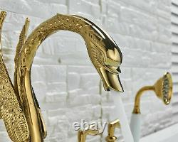 Golden Swan Shape Bathtub Faucet Deck Mounted 3 Handles Tub Tap WithHand Shower