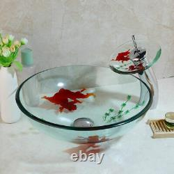 Goldfish Clear Round Tempered Glass Basin Bathroom Sink Mixer Water Faucet Drain