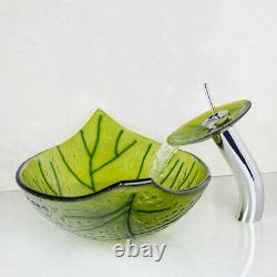 Green Leaf Bathroom Glass Basin Combo Vessel Sink Waterfall Mixer Faucet Tap Set