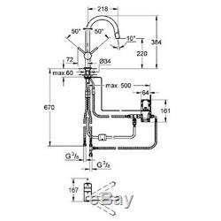 Grohe Minta Chrome C Spout Pullout Kitchen Sink Mixer Tap 31358000