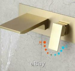HOT Brass Brushed Gold Bathroom Sink Waterfall Faucet Wall Mount Basin Mixer Tap