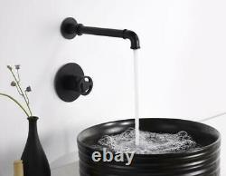 HOT Unique Pipe Brass Widespread Wall Mount Bathroom Sink Faucet Basin Mixer Tap