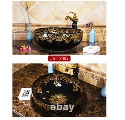 Handcraft Black Round Ceramic Bathroom Basin Vessel Sink Mixer Faucet Drain Set