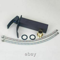 Handcraft Oval Glass Bathroom Basin Vessel Sink Black Mixer Faucet Tap Combo Set
