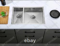 Handmade 1.5 Bowl Stainless Steel Undermount Kitchen Sink 670x440 SUS304
