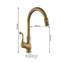 Home Kitchen Brass Swivel Spout Faucet Single Handle Vessel Sink Mixer Tap Tool