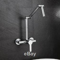 Hot& Cold Wall Mounted Mixer Water Kitchen Sink Faucet Folding Swivel Spout Tap
