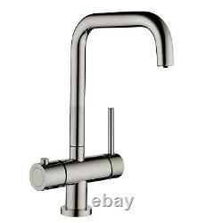 Instant Cold Hot Boiling Water 3 in 1 Tap Angular Tank Filter Brushed Finish