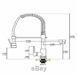 Kitchen Deck Mounted Sink Faucet Single Handle Pull Down Sprayer Brass Mixer Tap