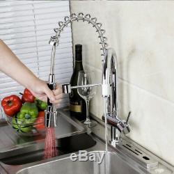 Kitchen Faucet Double Spouts LED Single Handle Chrome Brass Mixer Sink Taps