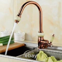 Kitchen Rose Gold Sink Pull Out Spray Mixer Swivel Brass Faucet Taps Deck Mount