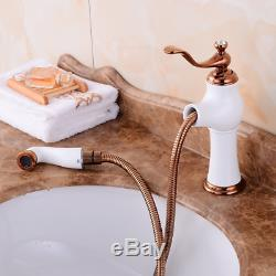 Kitchen Rose Gold+White Faucet Pull Out With Spray Bath Swivel Sink Mixer Water