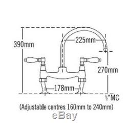 Kitchen Sink Bridge Mixer Tap Antique Gold Traditional Ceramic Lever 1/4 Turn