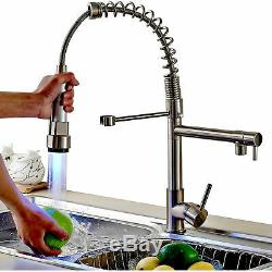 Kitchen Sink Faucet Pull Down Sprayer Brushed Nickel LED Swivel Spout Mixer Tap