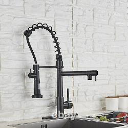 Kitchen Sink Faucet Pull Down Sprayer Mixer Tap Matte Black With Deck Plate