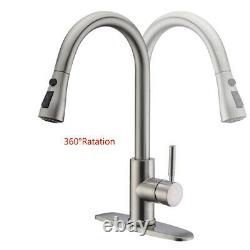 Kitchen Sink Faucet Pull Down Sprayer Single Handle Brushed Nickel Mixer Tap