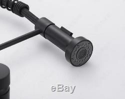 Kitchen Sink Faucet Single Handle Pull Down Sprayer Black 2Modes Mixer Tap Brass
