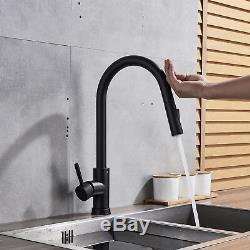 Kitchen Sink Faucet Smart Touch Sensor Pull Out Sprayer Matt Black Mixer Tap1