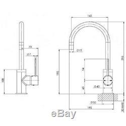 Kitchen Sink Mixer Slimline Gooseneck Brushed Gold Tap Phoenix Tapware VS735-12