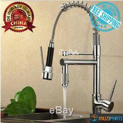 Kitchen Vessel Sink Basin Hot Cold Deck Mount Spring Mixer Faucet Dual Spout Tap