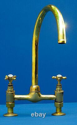 LARGE VINTAGE MIXER TAP belfast sink faucet vintage brass Made in UK