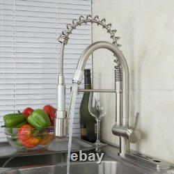 LED Brushed Nickel Kitchen Sink Basin Faucet Pull Down Swivel Spray Mixer Taps