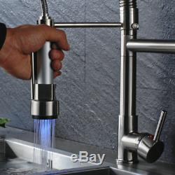 LED Pull Down Spray Kitchen Sink Faucet Swivel Spout Brushed Nickel Mixer Tap