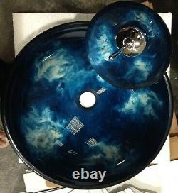 LUXURY Glass sink Blue silver black marble painted basin MATCHING WATERFALL Tap