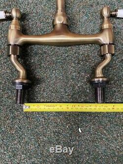 Lever Antique Brass Bronze Kitchen Bridge Sink Mixer Taps Ideal Belfast Sink