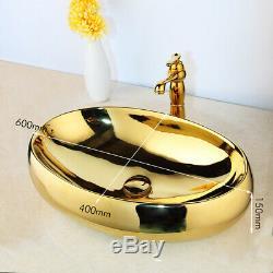Luxury Gold Oval Ceramic Bathroom Basin Vessel Sink Mixer Faucet Pop Drain Set