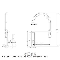 Matte Black Pull Out PVC Hose 360° Swivel Square Laundry Kitchen Sink Mixer Tap