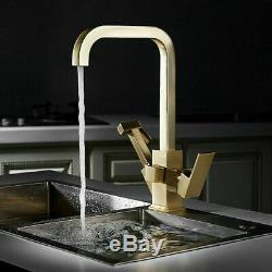 Modern Brushed Gold Brass Kitchen Sink Faucet Single Hole Swivel Spout Mixer Tap