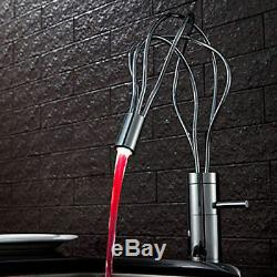 Modern One Handle Hole Nest Shape LED Sink Faucet Mixer Tap for Bathroom/Kitchen