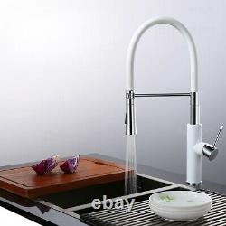 Modern White Single Hole Kitchen Sink Faucet with Pull-Down Sprayer Brass Tap
