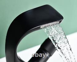 NEW Unique Bathroom Kitchen Sink Basin Faucet Brass Black Hot&Cold Waterfall Tap