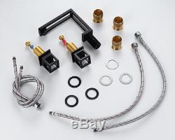 NEW Unique Bathroom Sink Faucet Brass Modern Hot&Cold Mixer Taps 2 handles Black