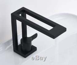 NEW Unique Bathroom Sink Faucet Hot&Cold Mixer Brass Modern Taps 1 handles Black