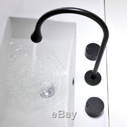 NEW Unique Modern Bathroom Sink Faucet Brass Hot&Cold Mixer Taps 2 handles Black