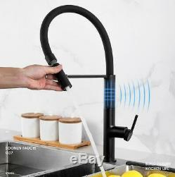 New Kitchen Sink Faucet Single Handle Deck Mounted Matte Black Spring Tap Mixer