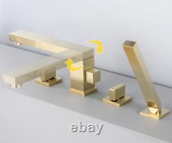New Waterfall Faucet Bathroom Sink Basin Taps Brass Deck Mounted Bruhsed Gold