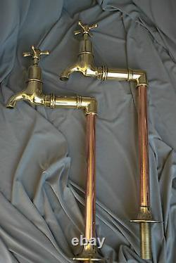 Old Brass & Copper Tall Bib Taps Ideal Belfast Kitchen Sink Reclaimed Refurbed
