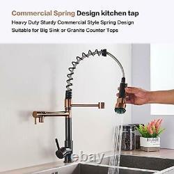 Onyzpily Rose Gold + Black Kitchen Tap Kitchen Sink Mixer tap Single Handle