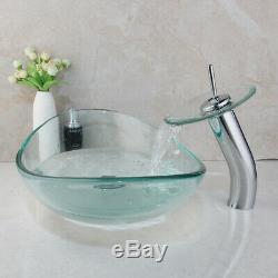 Oval Tempered Clear Glass Bathroom Basin Vessel Sinks Waterfall Mixer Faucet Set